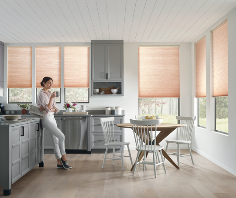 Hunter Douglas custom window coverings in a kitchen space