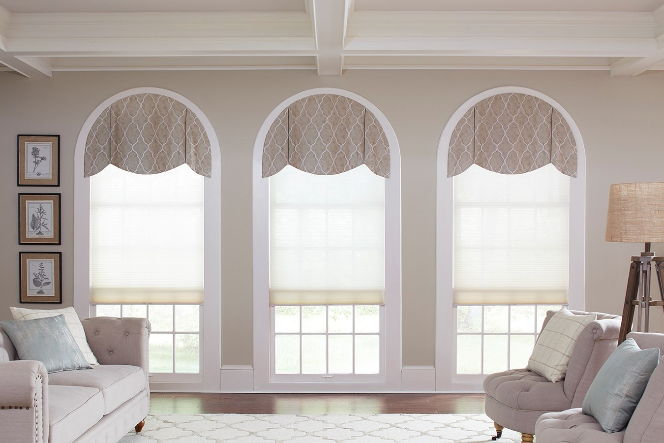 Arched window top treatments