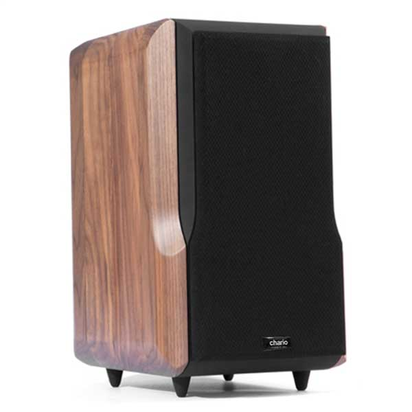 Chario Lynx Bookshelf speaker in walnut finish. Front Angle View with grill cover on.