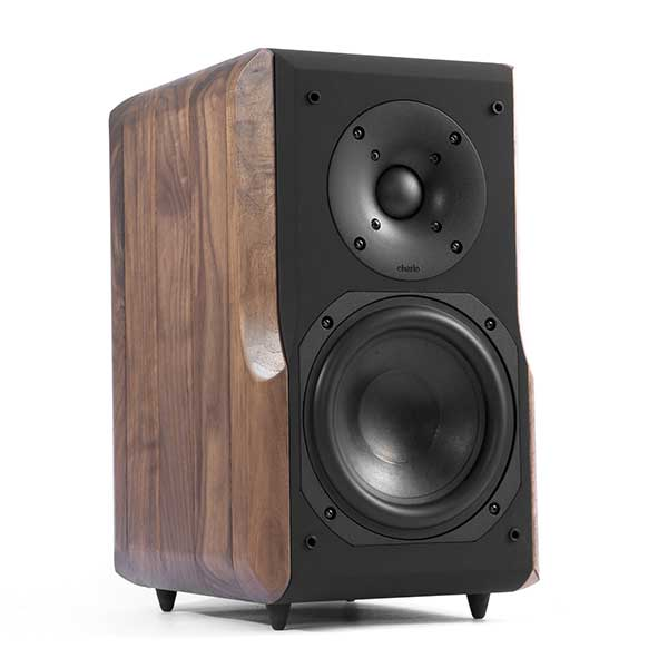 Chario Constellation Delphinius Bookshelf speaker. Front Angle View without the grill cover. No stand.