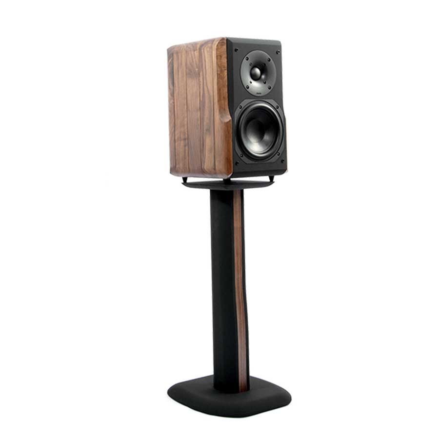 Chario Constellation Delphinus Bookshelf Speaker in walnut finish on stand without the grill cover.