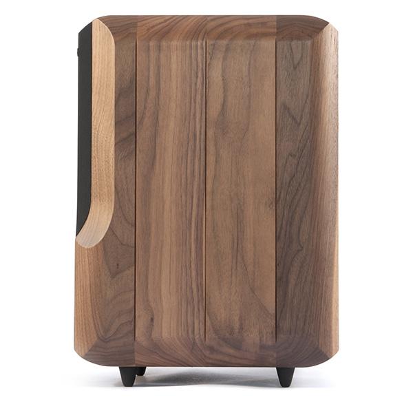 Chario Lynx Bookshelf speaker in walnut finish. Right side view.