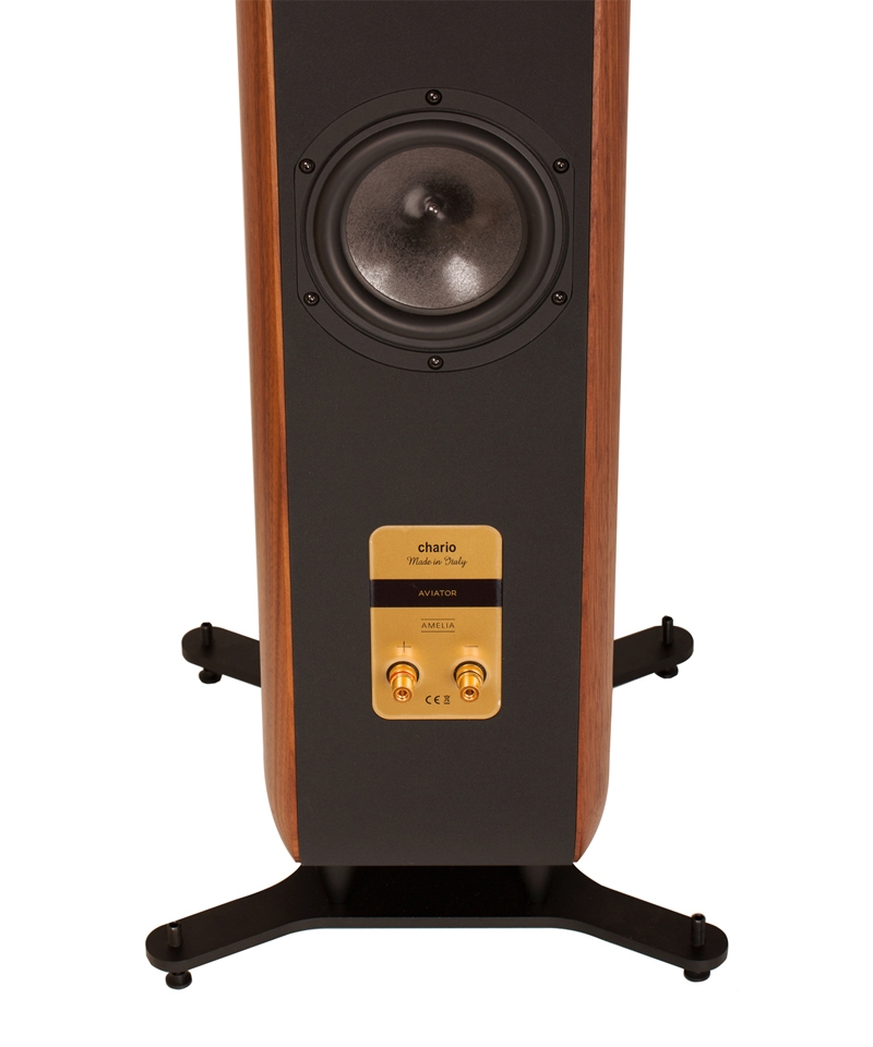 Chario Aviator Amelia Speaker. Floor standing Speaker. Rear view showing back woofer and rear connections.