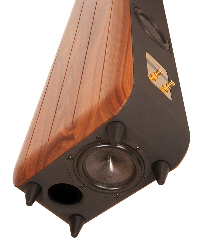 Chario Floor standing Speaker in solid walnut finish. Bottom angle view showing bottom and rear woofer and rear connections.