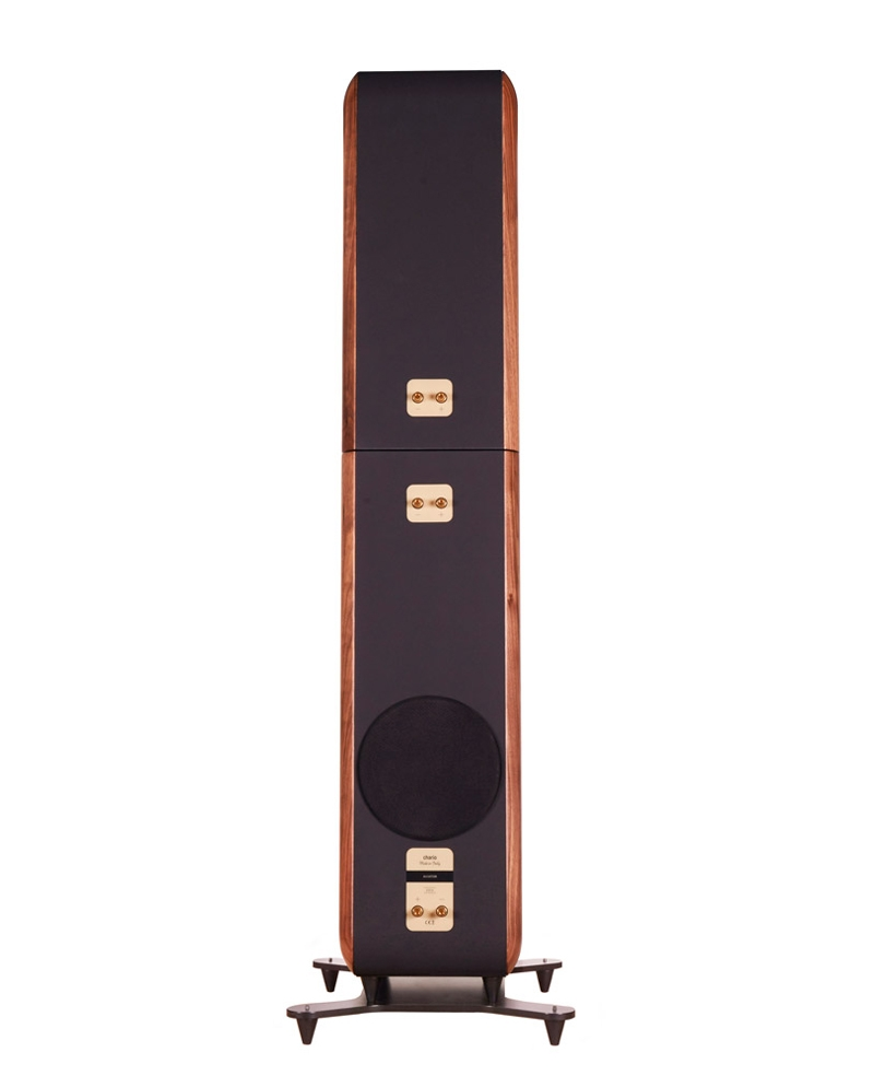 Chario Aviator Aria Speaker. Chario Floor standing Speaker. Rear view showing connections and rear woofer.