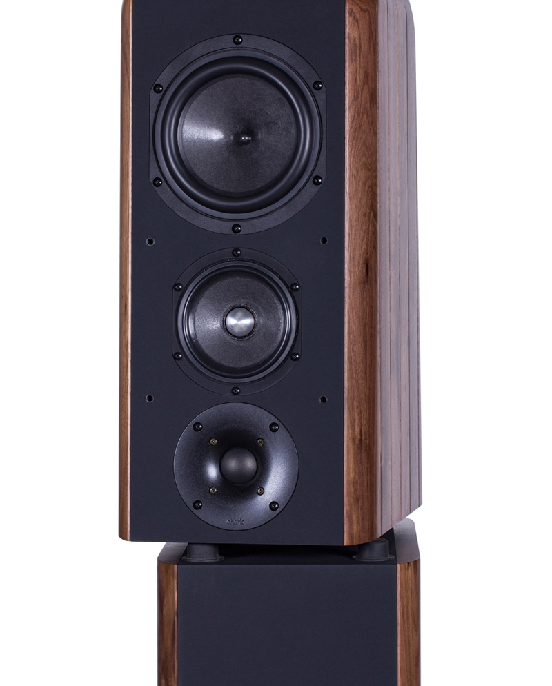 Chario Aviator Aria Speaker. Chario Floor standing Speaker. Front angle view without grill cover.