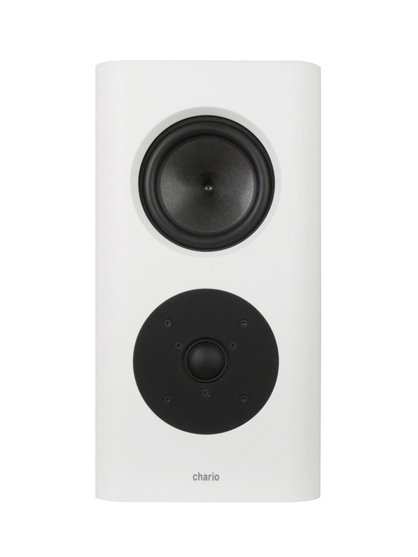 Chario Belong Type S Speaker. White Speaker. Front view of Chario Belong speaker without the grill face on.
