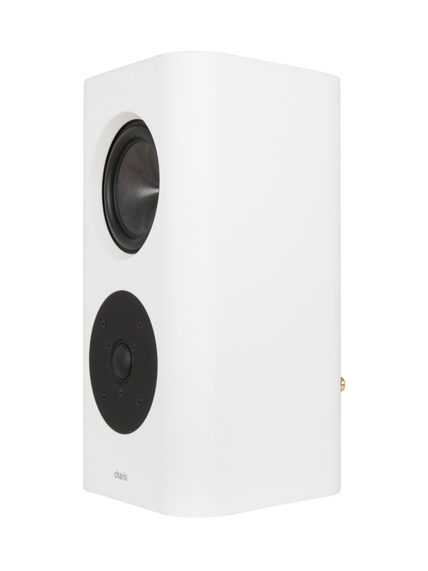 Chario Belong Type S Speaker. White Speaker. Front Angle view of Chario Belong speaker without the grill face on.