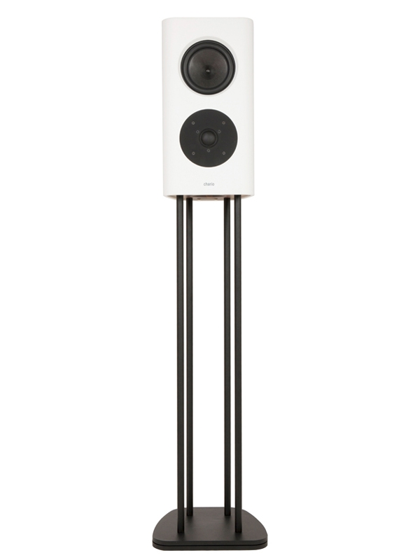 Chario White Belong Speaker. Forward facing on the stand without the grill covering on. White background.