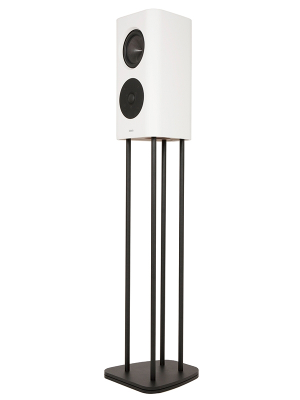 Chario Belong S white Speaker on stand. Front angle view. On white background.