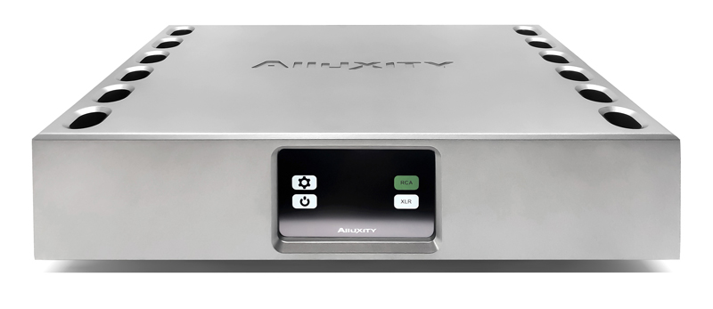 Alluxity Mono One Monoblock amplifier in silver finish. Front display iew.