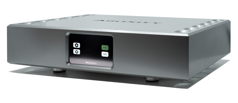 Alluxity Mono One Monoblock amplifier in silver finish. Front angled view.