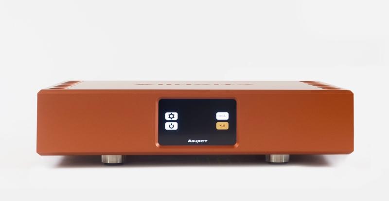 Alluxity Power amp in titanium orange finish.