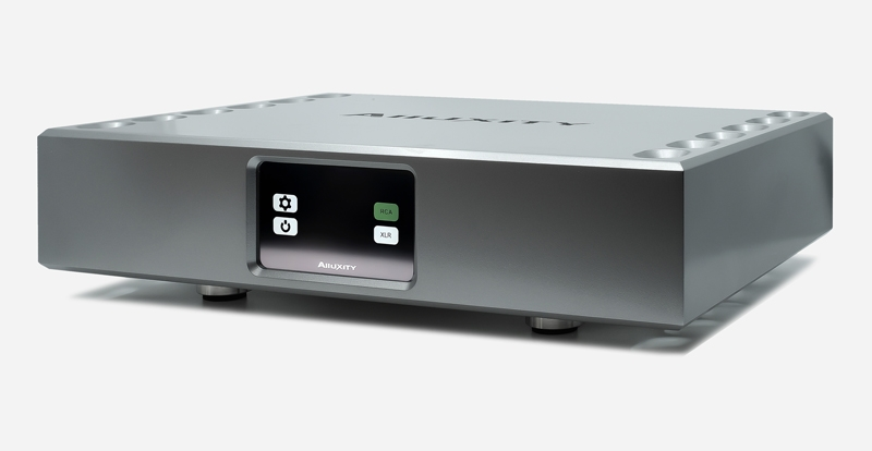 Aluxity Power One Power Amp in silver finish. Front angled view.