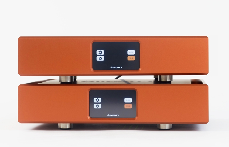 Alluxity Pre One amp and Power One amp stacked in Titanium Orange finish