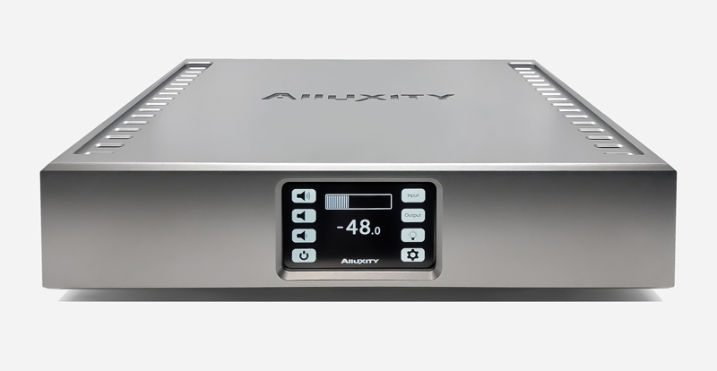 Alluxity Pre Two preamplifier in silver finish with view of LCD display and top view