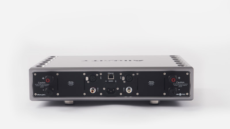 Rear view of the inputs on the Alluxity Power Two Home Audio Amplifier.