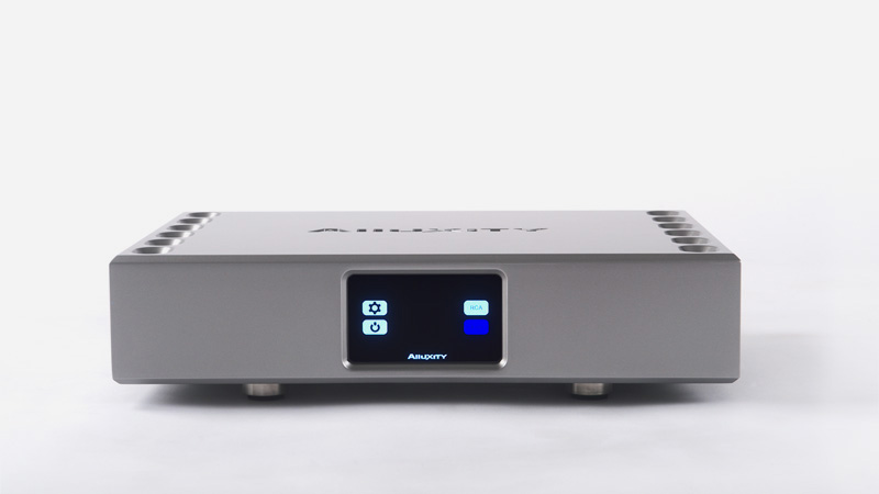 Alluxity Power Two Amplifier in Silver Finish Front Display
