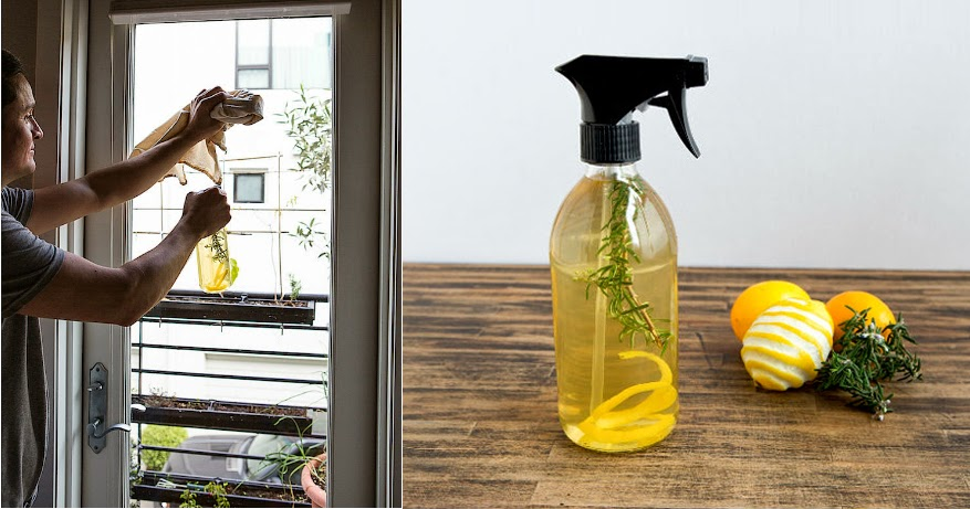 Atomizador casero de limón y romero para la limpieza