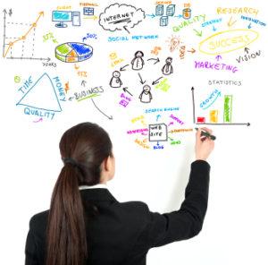 strategic thinker, woman creating a strategic plan on a board