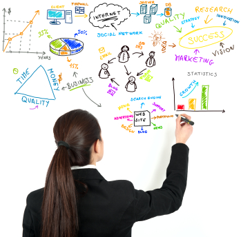 strategic thinker, woman creating a strategic plan on a board
