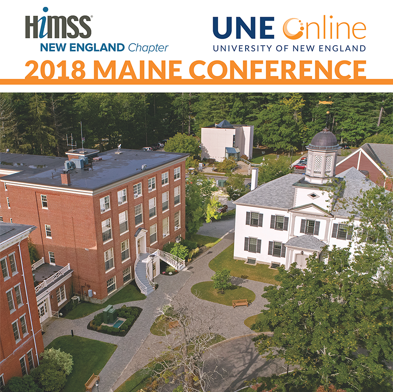 Icon that says HIMSS New England Maine Conference 2018 at UNE Online