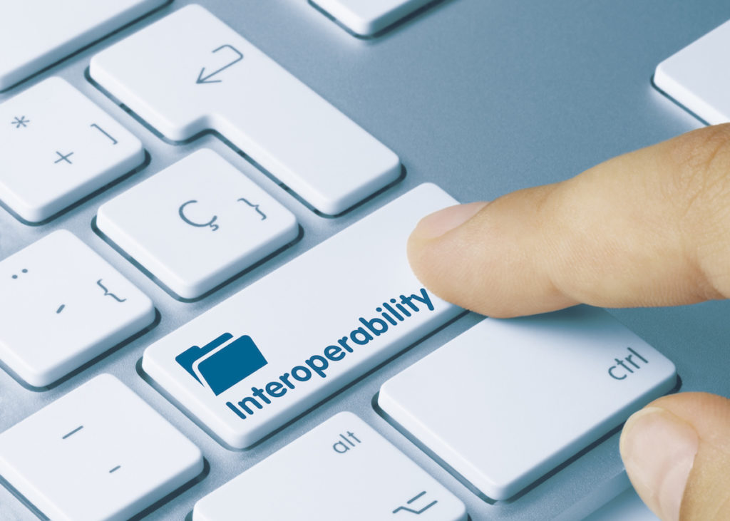 cms promoting interoperability with a finger pressing a keyboard key that says interoperability