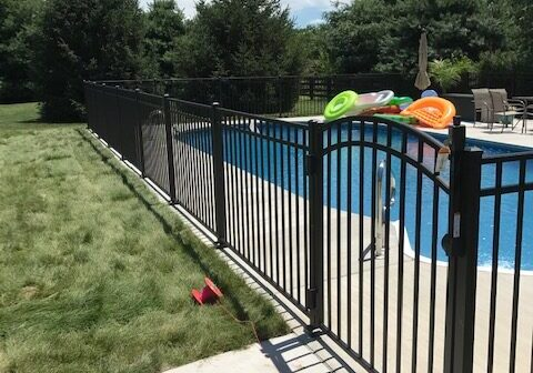 Pool with Trex Composite Privacy Fencing and Pool with Ornamental Metal Fencing near Nicholasville, Kentucky (KY)