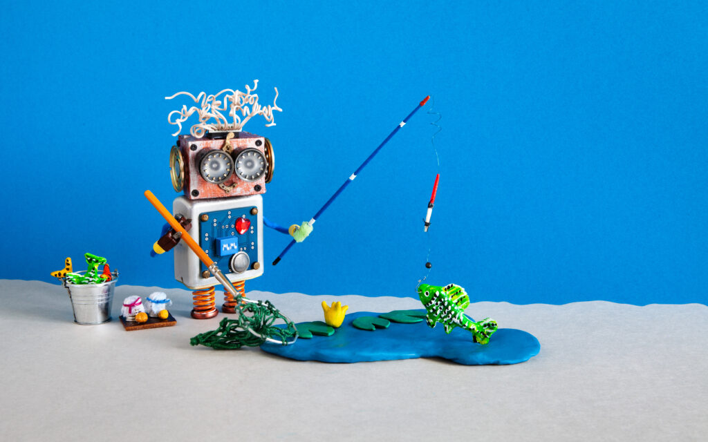 Robot is fishing with a fishing pole. The water is is blue clay and the fish is green clay. Image represents using creative marketing to hook your audience.