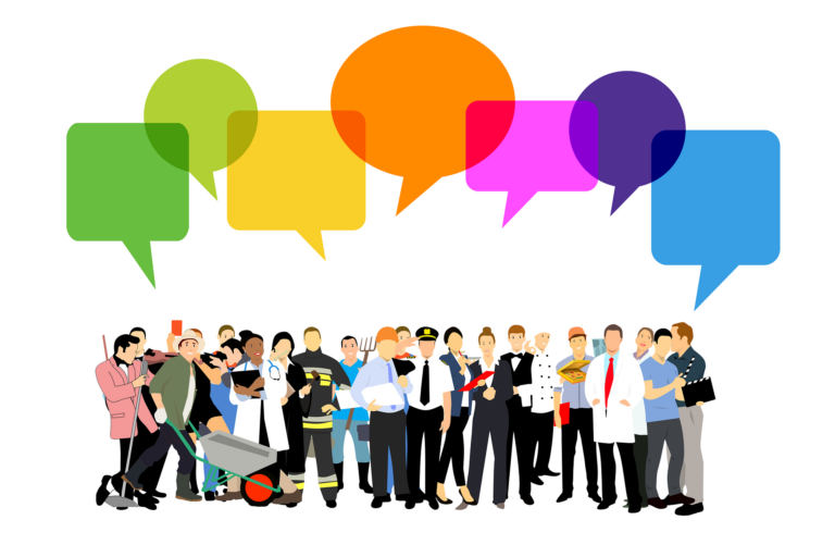 Group of people with comment bubbles