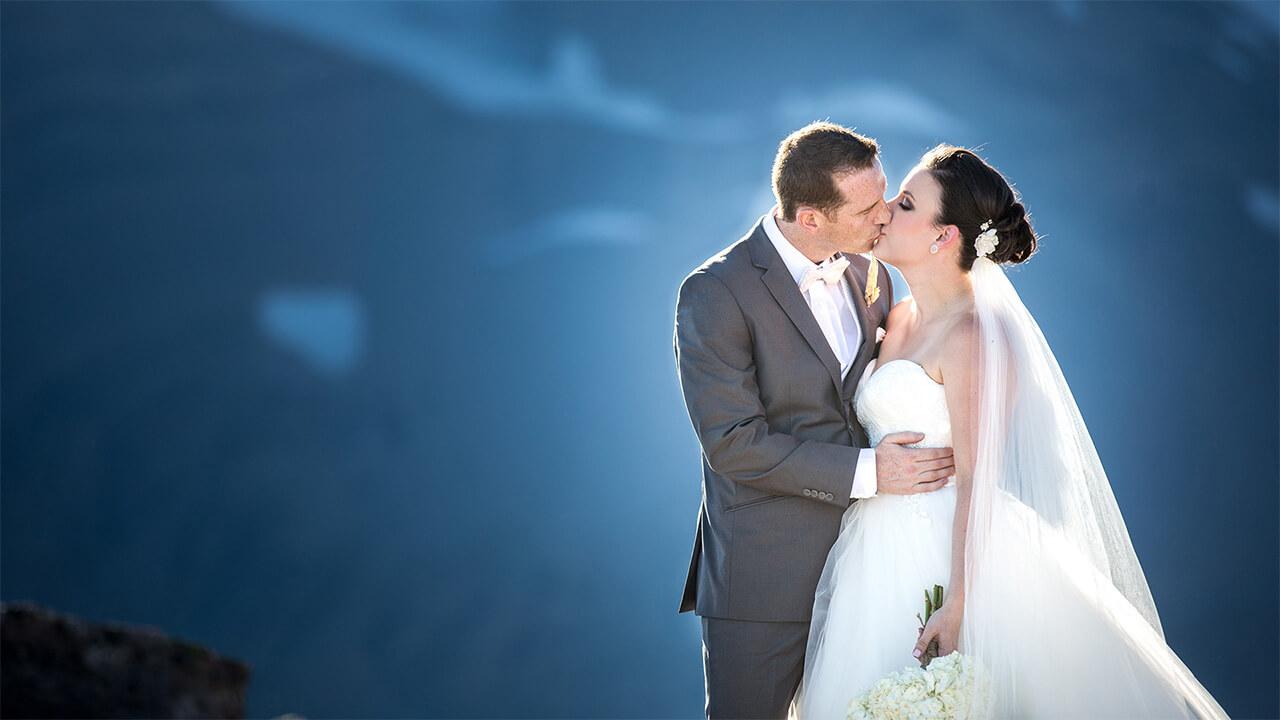 Edmonton Wedding Photographer with couple kissing at Kicking Horse Mountain Resort