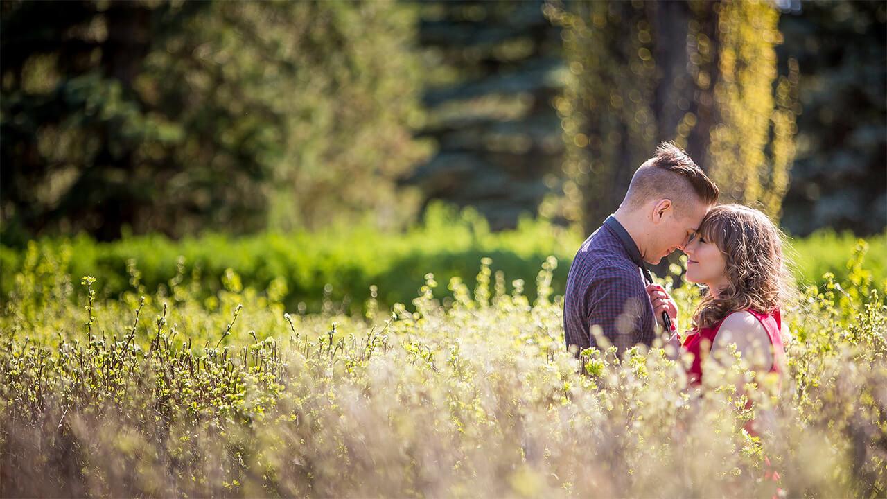 Edmonton Wedding Photographer Capturing couple at Devonian Botanical Gardens