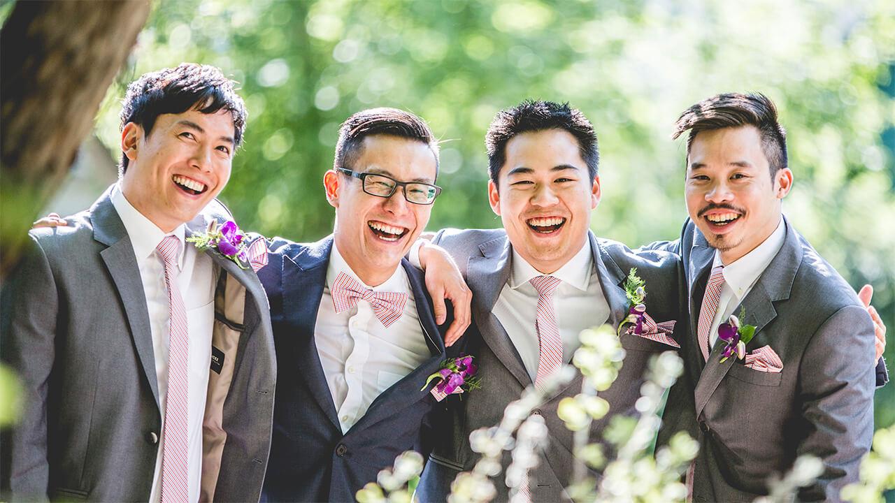 Edmonton Wedding Photographer with happy groomsmen