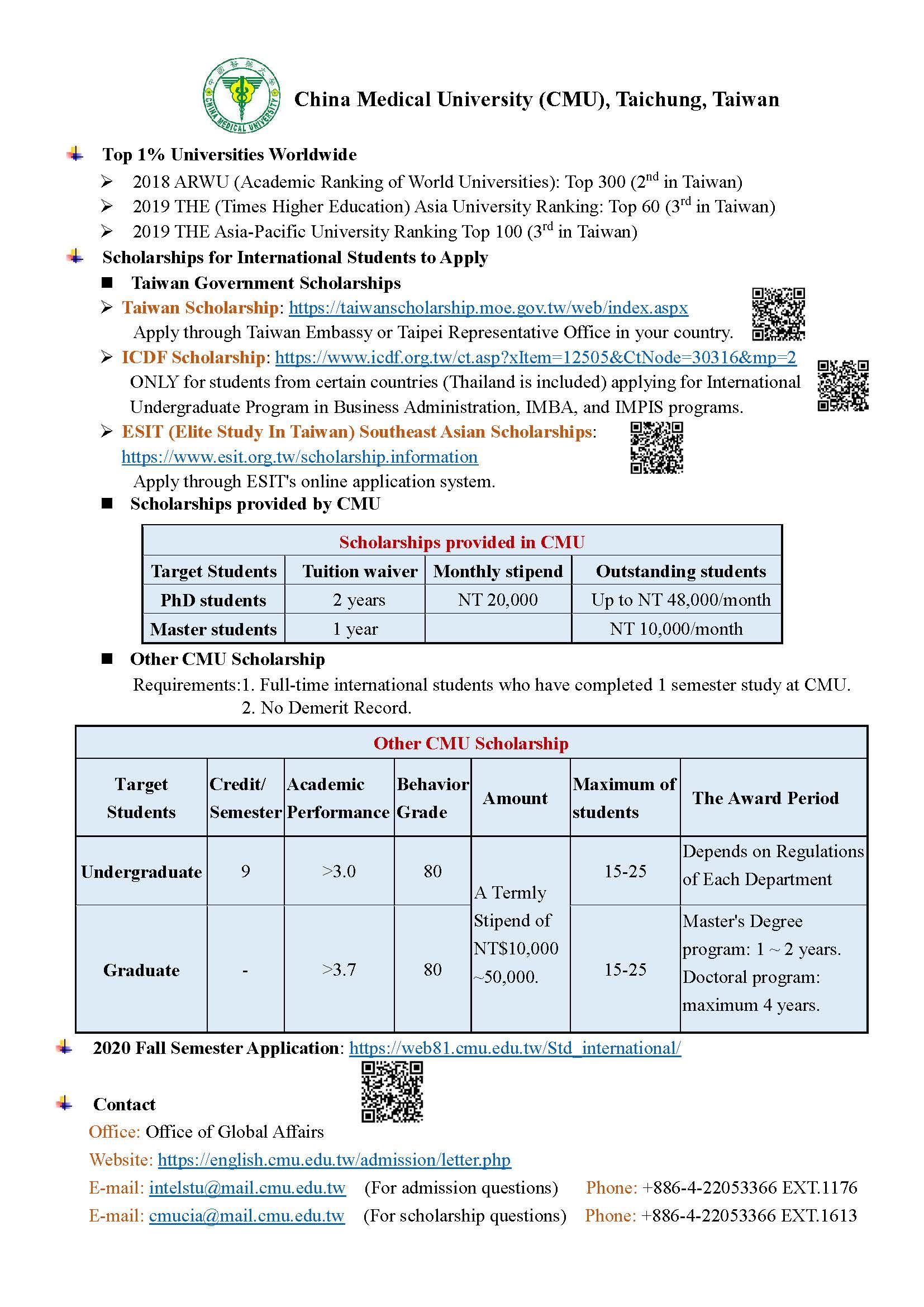 2020 China Medical University (CMU) scholarships