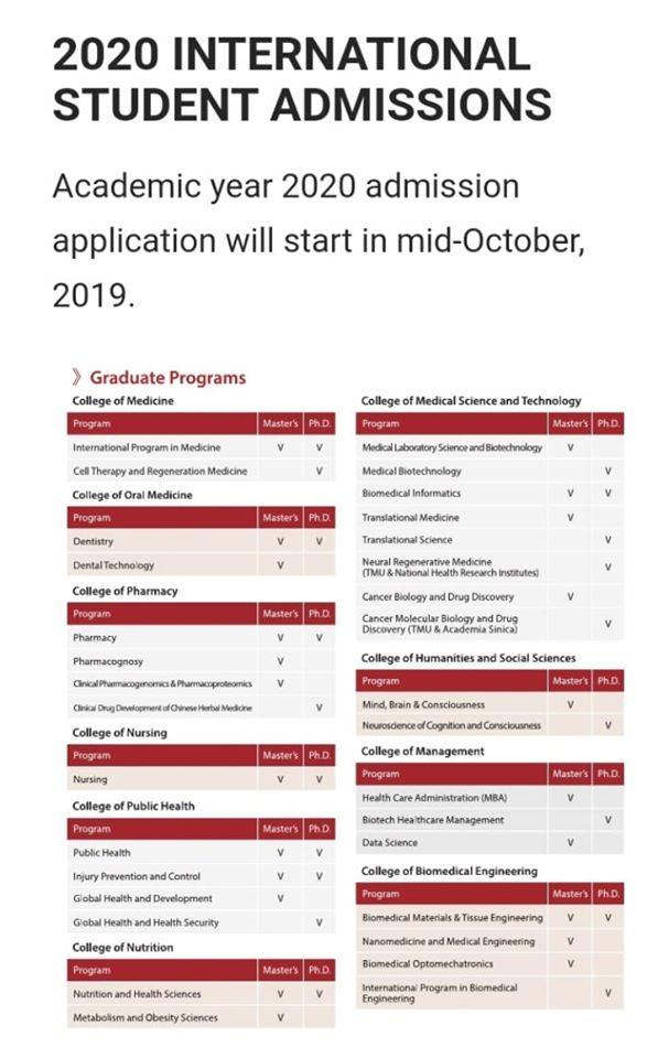 Taipei Medical University (TMU) 2020 International Student Admissions