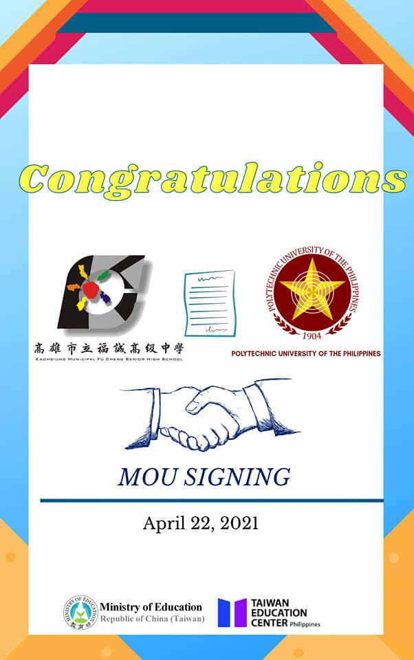 Congratulations to Polytechnic University of the Philippines & Kaohsiung Municipal Fu Cheng Senior High School