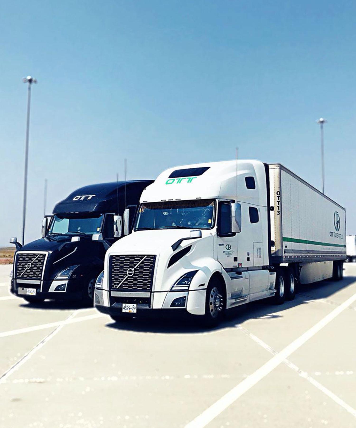 white & black trucks
