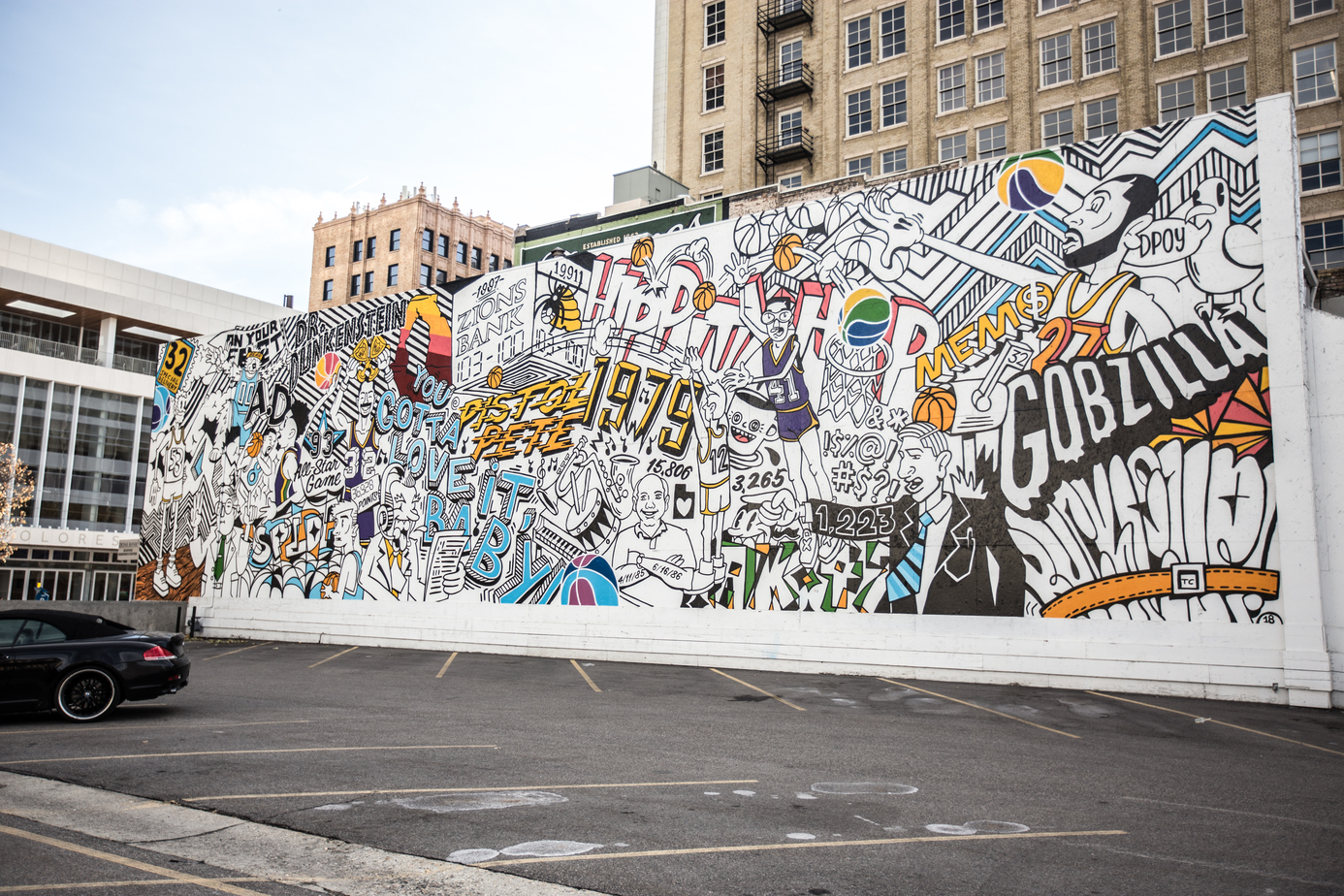Basketball mural in Downtown Salt Lake City, Utah