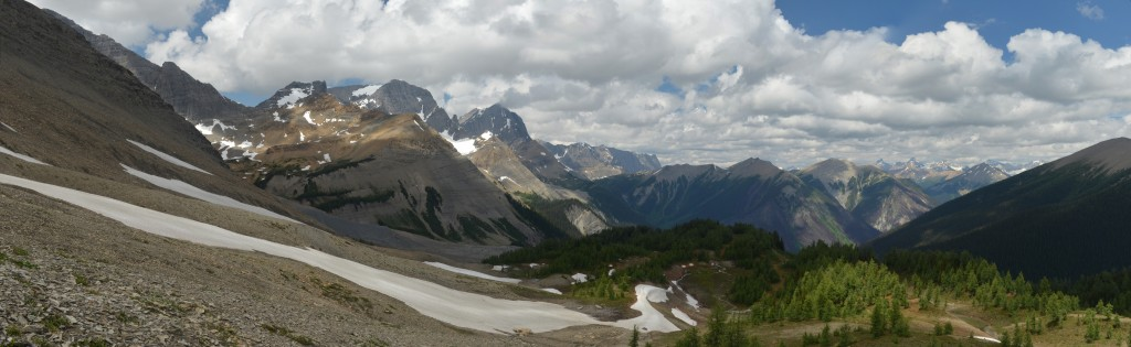 Panoramic view from Numa Pass in Kootenay National Park, British Columbia.