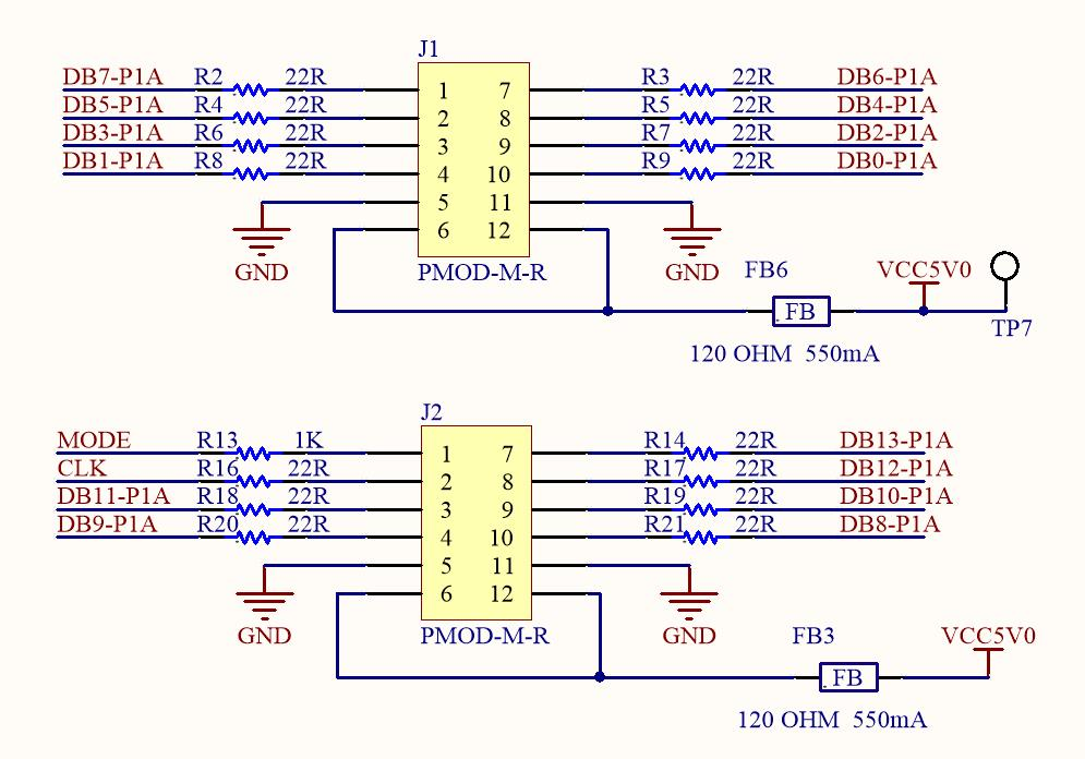 AD9767 PMOD Interface Board High Speed AD Interface Definition