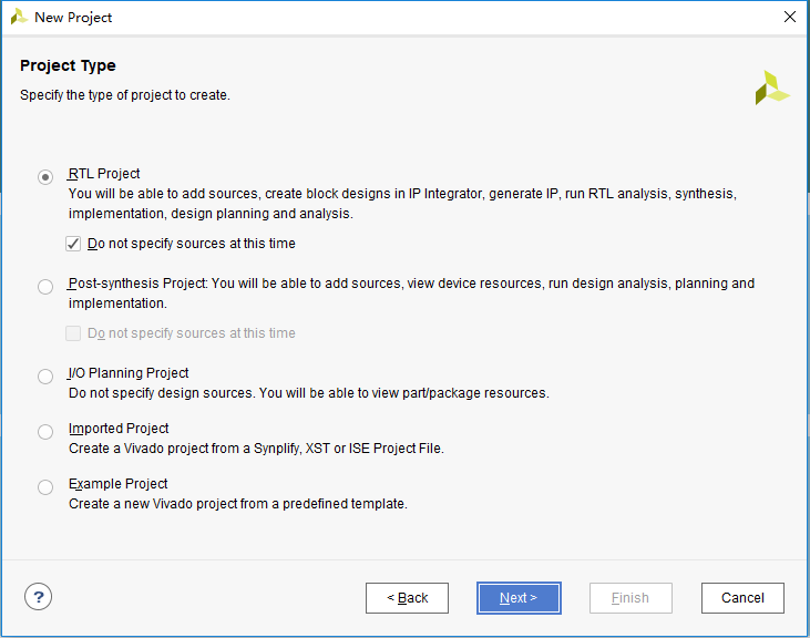 New Project-Project Type dialog box