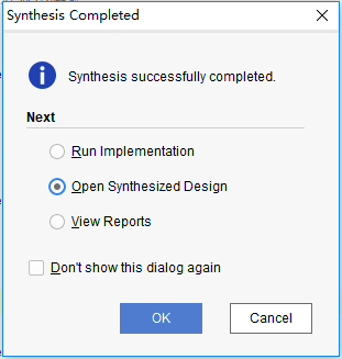 Synthesis Completed dialog box