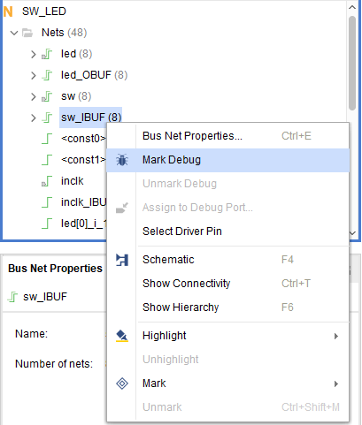 Mark network nodes to be debugged
