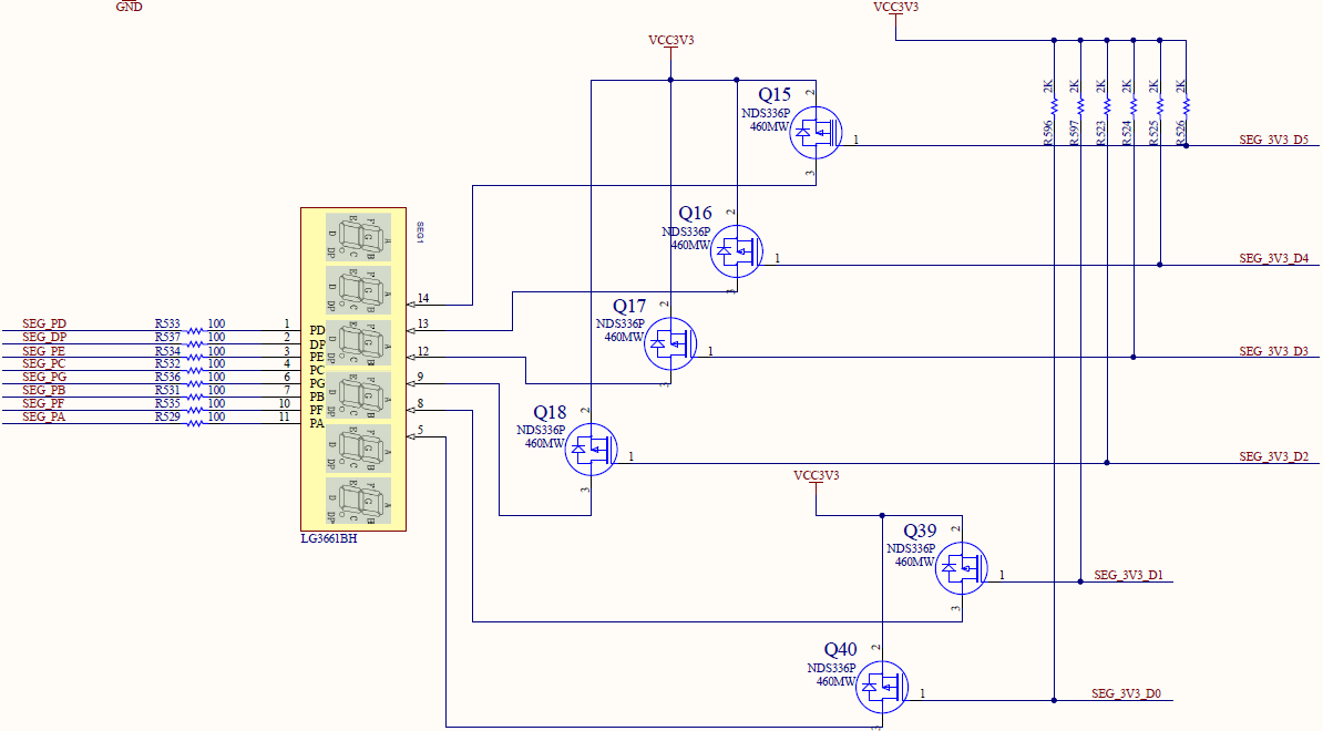 Schematics of the segment display
