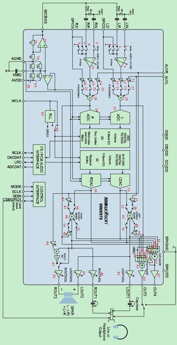 WM8978 internal structure block diagram