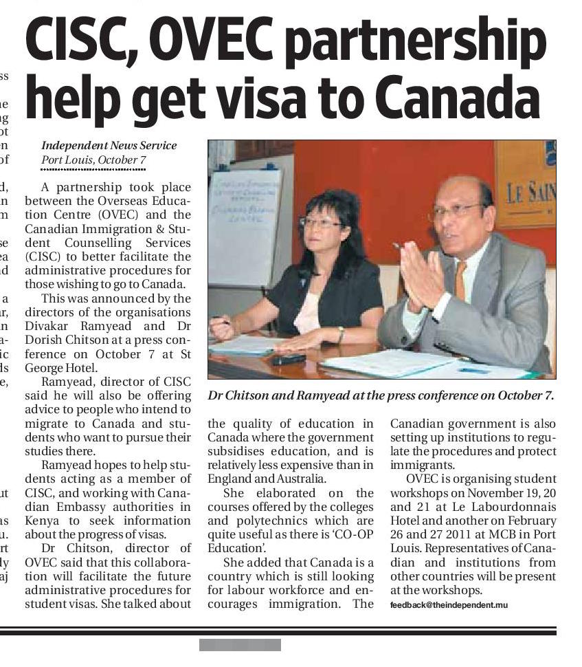 The Independent: CISC, OVEC partnership help get visa to Canada