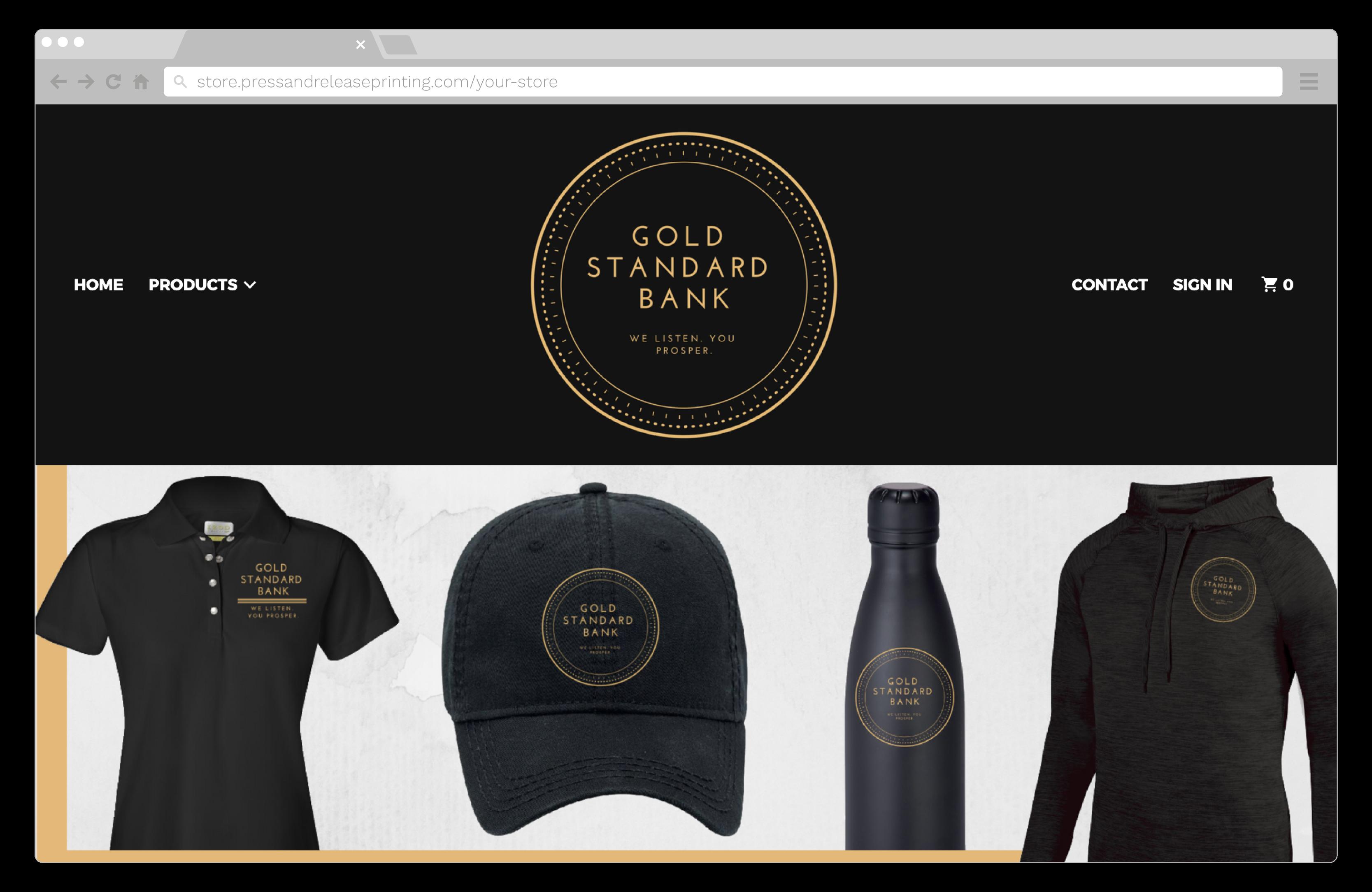 Screenshot of a bank's online staff apparel store.