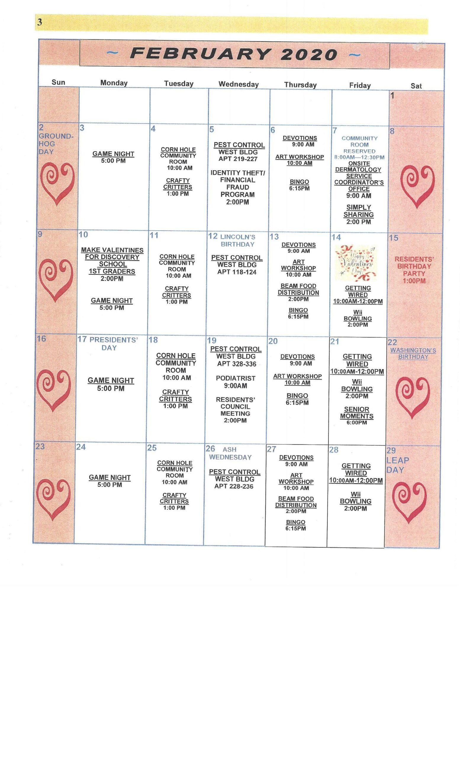 Pablo Hamlet Calendar