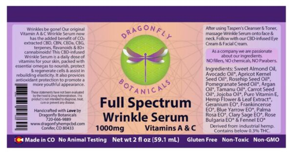 Full Spectrum CBD Wrinkle Serum with Vitamins A & C label