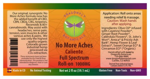 Full Spectrum CBD Hemp Oil Caliente ROLL-ON label